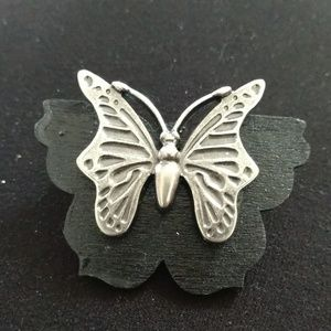 Butterfly pendant black and Silver handmade